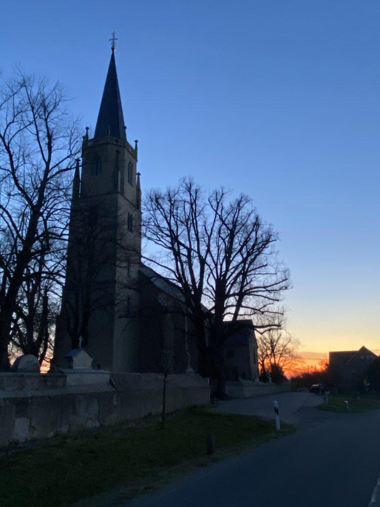 Kirche Wantewitz Sonnenaufgang